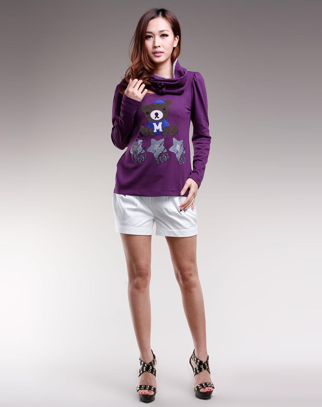 紫色小熊图案长袖t恤衫