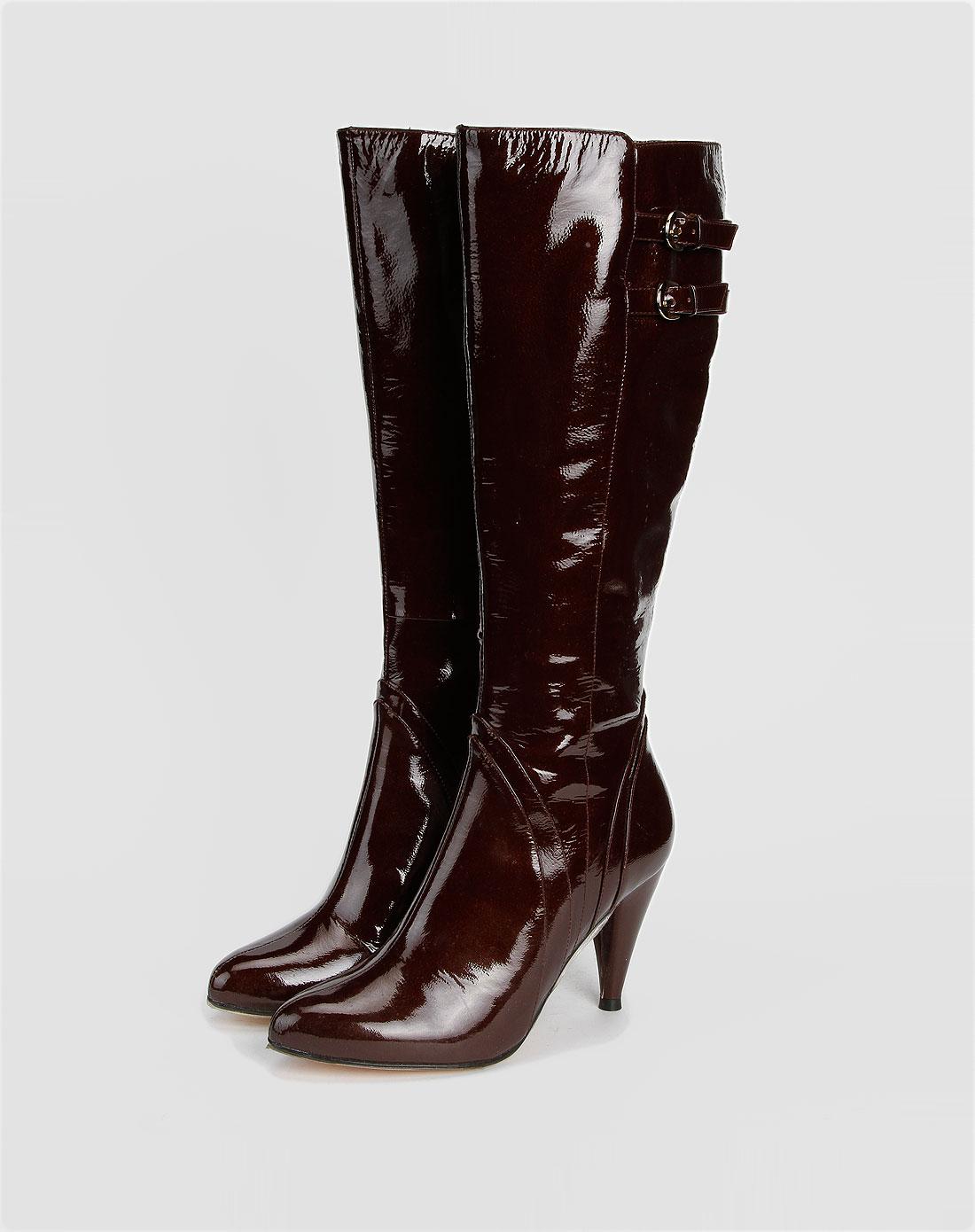 女鞋库存专场安玛莉 酒红色长筒高跟鞋