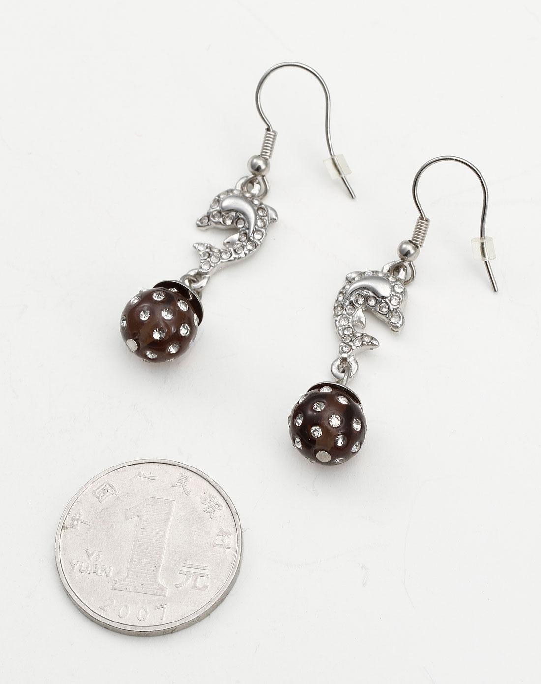 银/黑色时尚可爱小海豚耳环