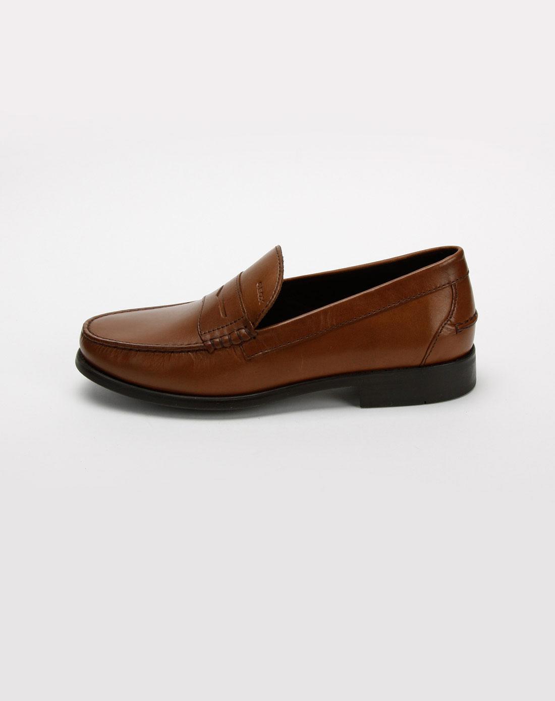 健乐士geox男款浅啡色牛皮商务休闲皮鞋