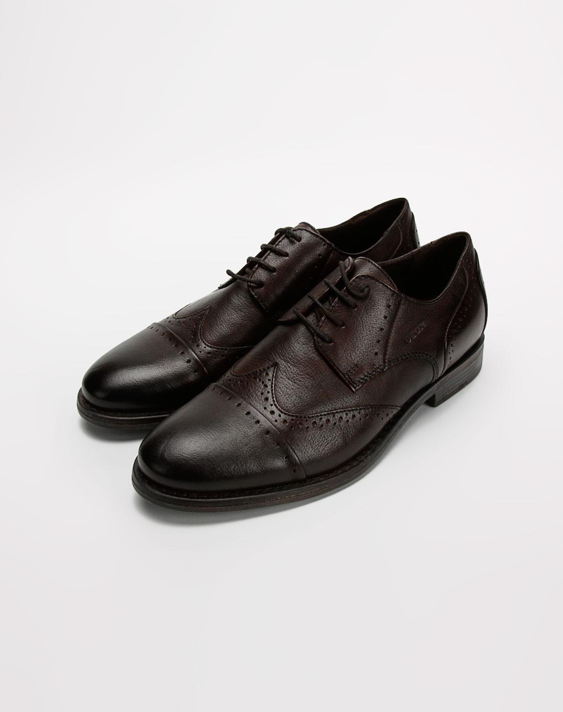 健乐士geox男款深啡色系带牛皮鞋