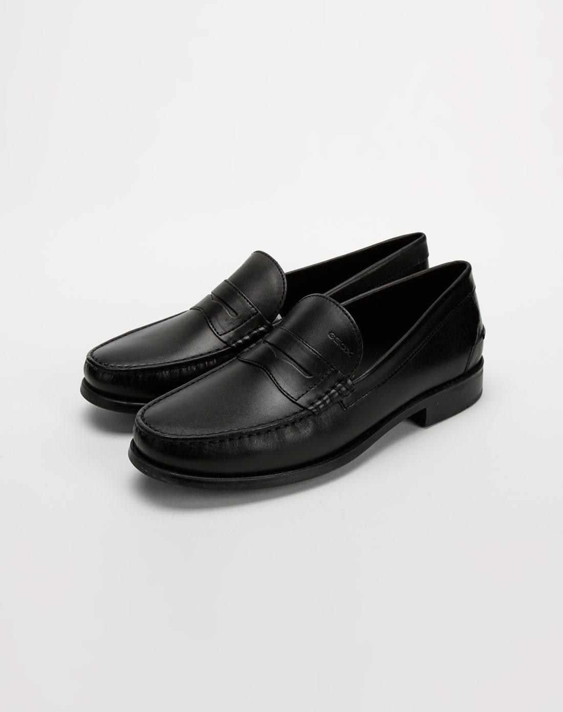 健乐士geox男款黑色牛皮商务休闲皮鞋