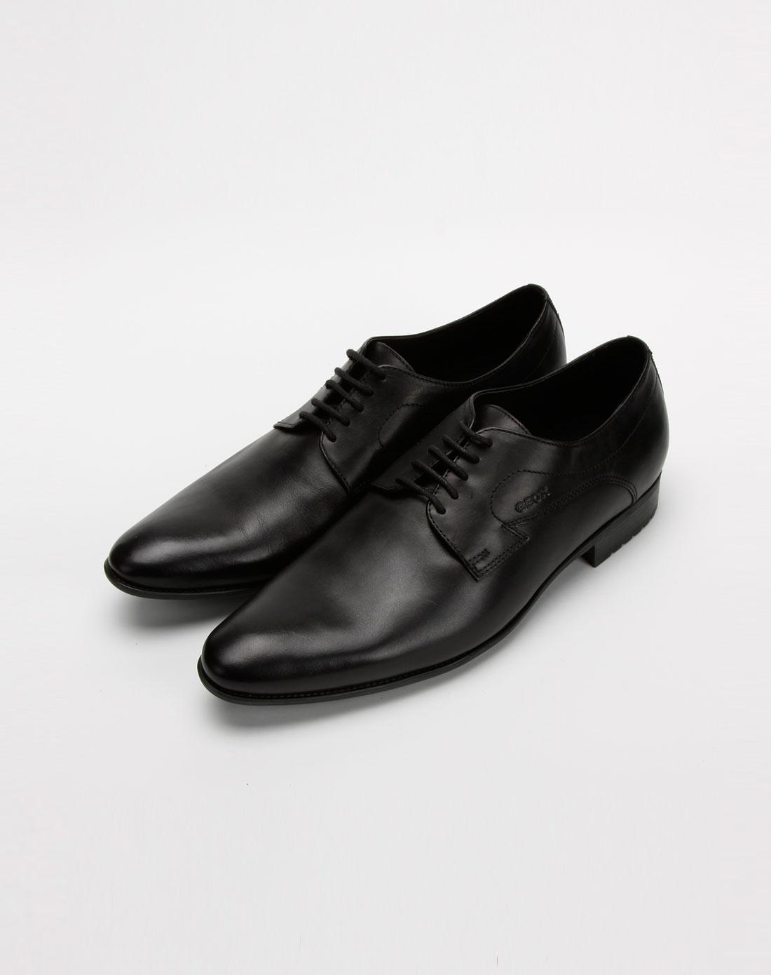 乐士geox男款黑色打蜡小牛皮鞋