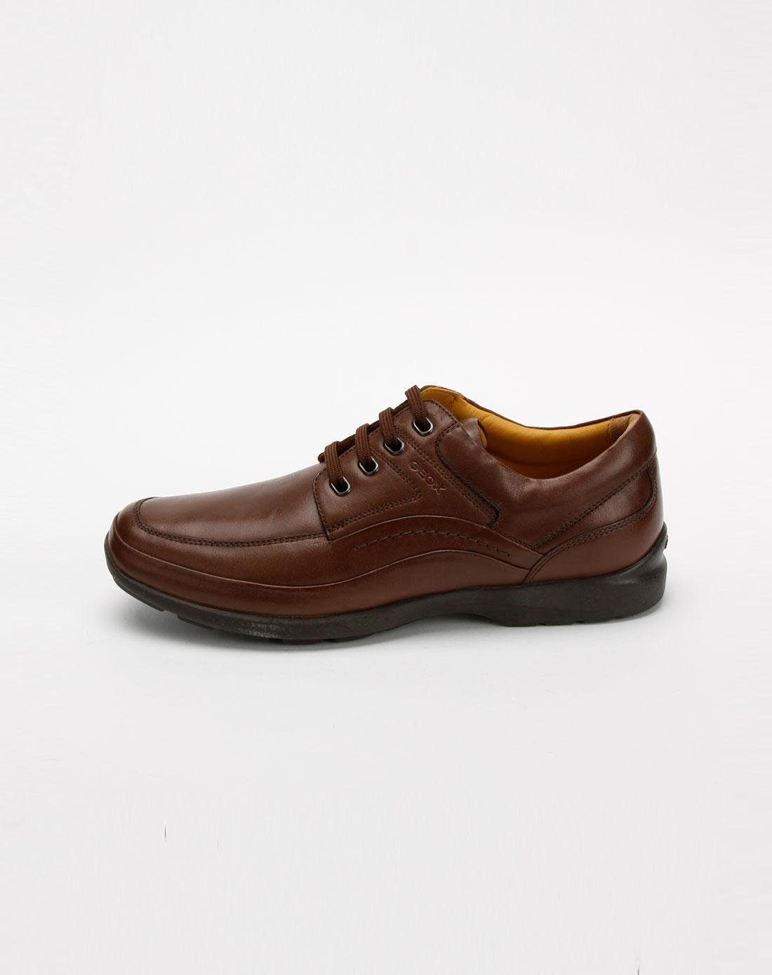 健乐士geox男款棕色油蜡牛皮鞋
