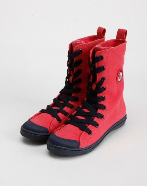 小猪班纳女童亮桃色高邦帆布鞋