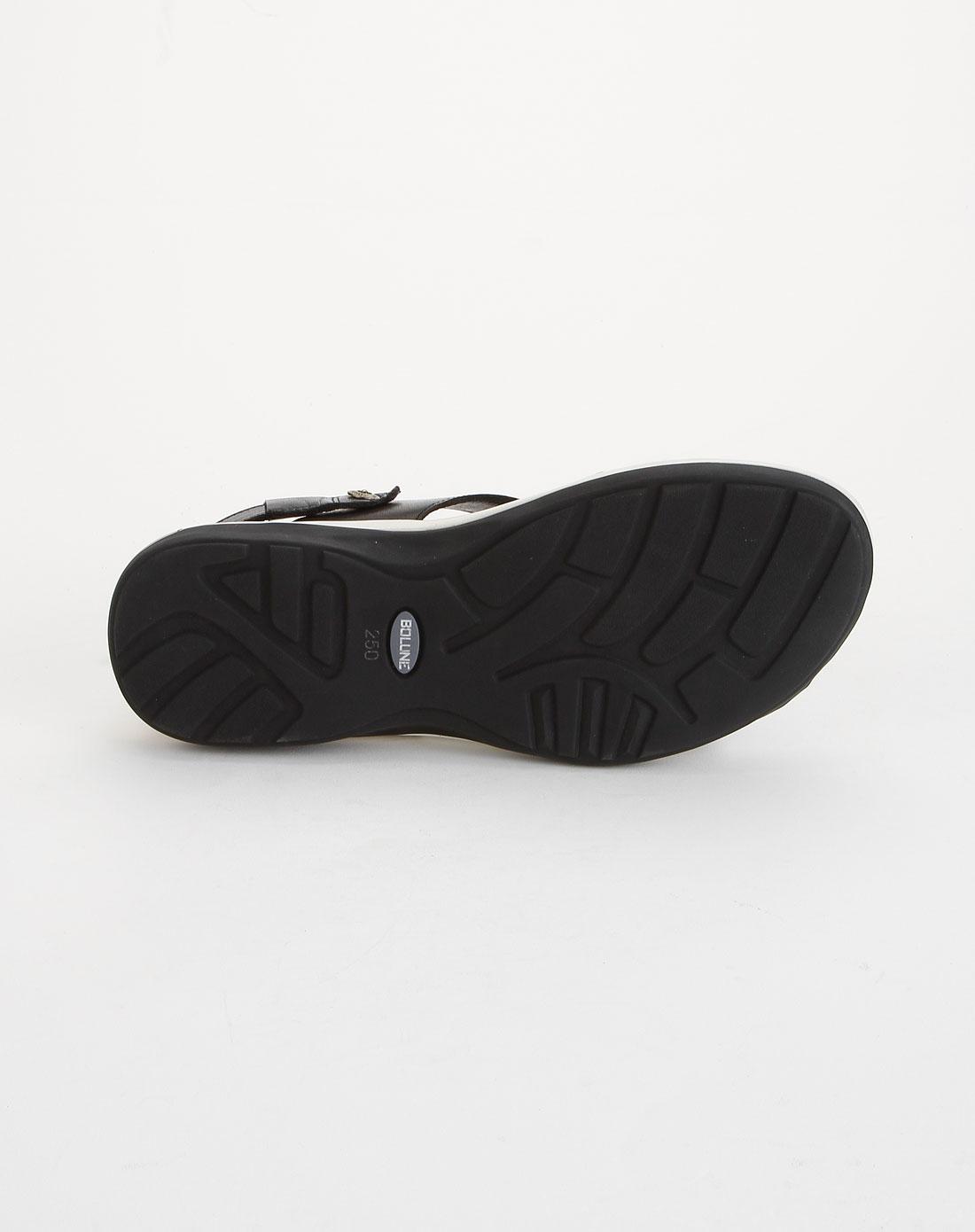 百伦bolune男款黑色时尚休闲皮凉鞋b08271001