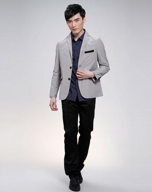 jeans澳伦浅灰色休闲长袖西服外套