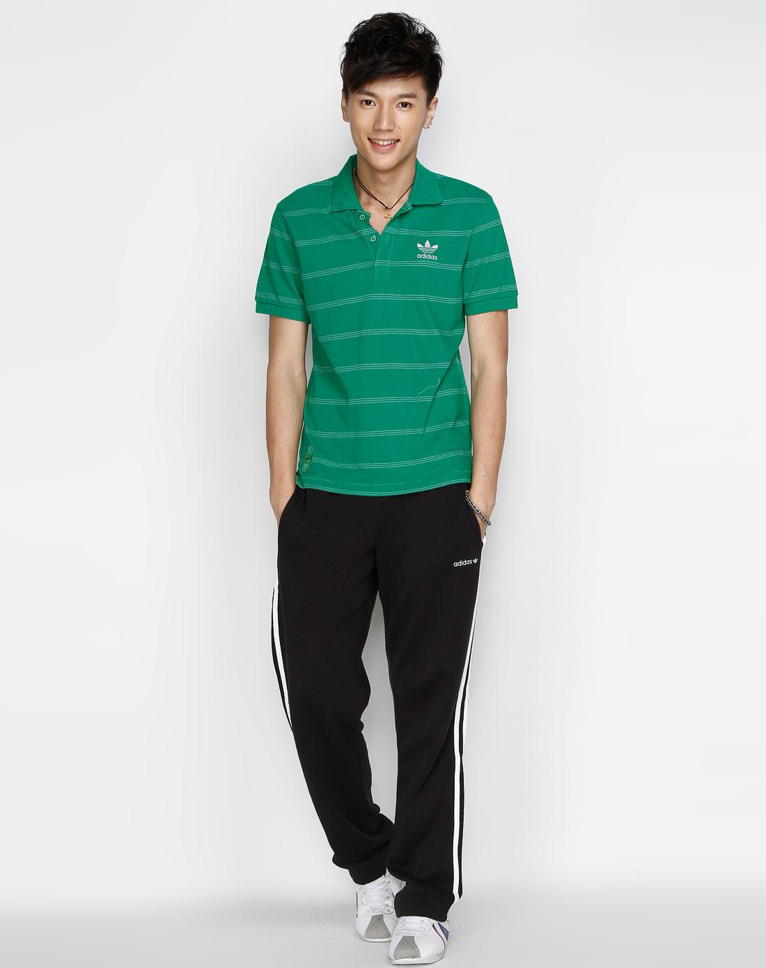 阿迪达斯adidas男装专场-三叶草 男款 绿色休闲短袖polo上衣