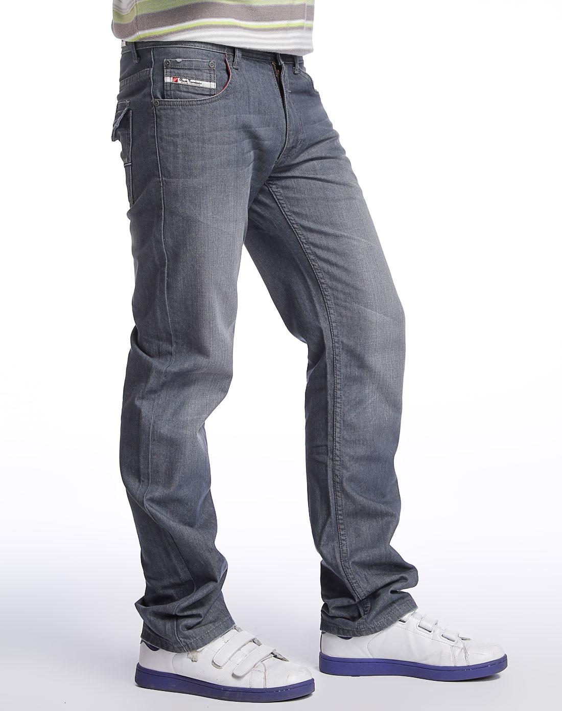 马克华菲灰蓝色牛仔长裤