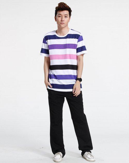森马-男装白/紫/黑色休闲短袖t恤图片