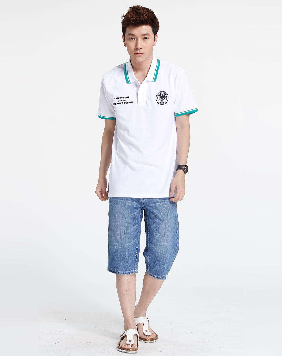 森马男装专场-白/绿色印字短袖polo衫图片