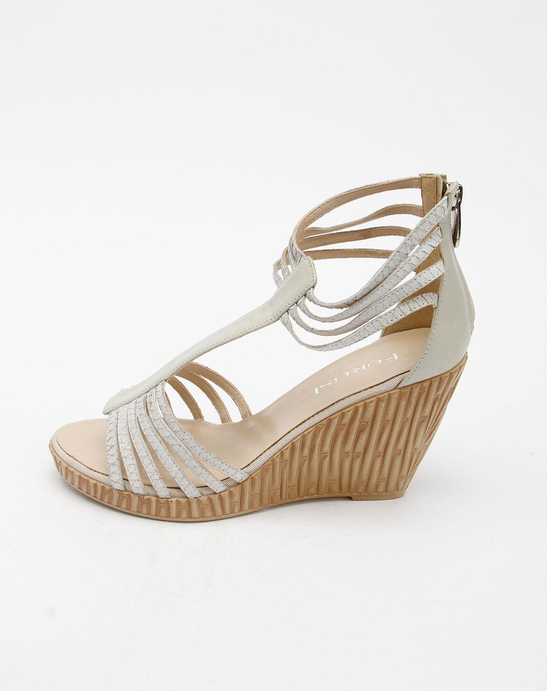 furuisi女款白色时尚高跟凉鞋