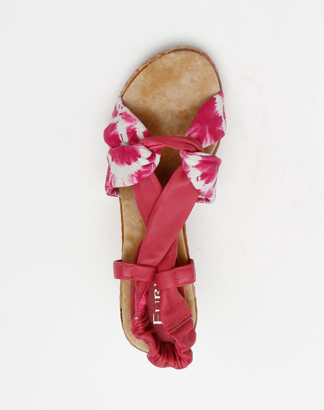 furuisi女款梅红色时尚个性高跟凉鞋