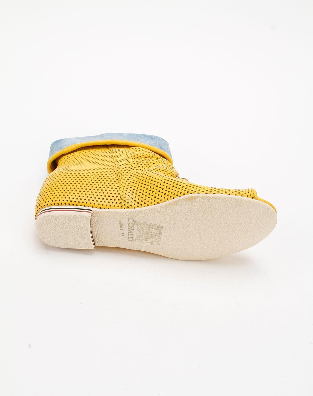 康莉COMELY电机风扇简约鱼嘴鞋111227203标致405时尚黄色图片