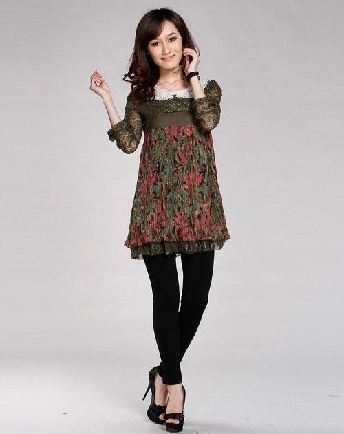 dc女装专场墨绿色花边娃娃领可爱长袖连衣裙