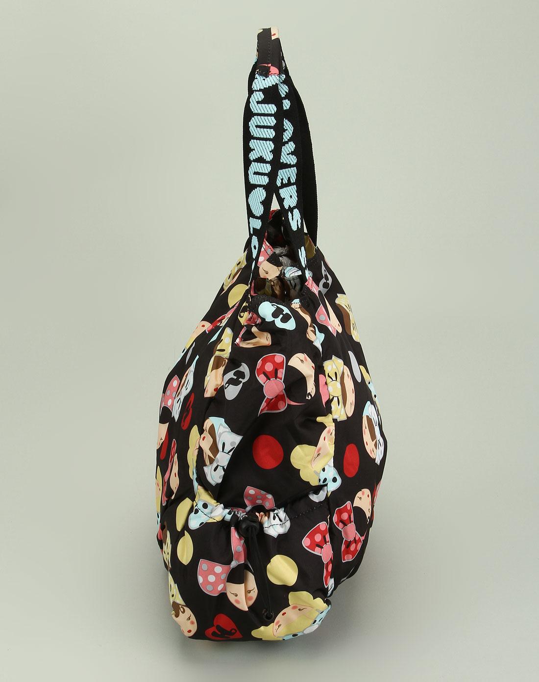混合包包专场-harajuku 女款黑色卡通图案可爱单肩包