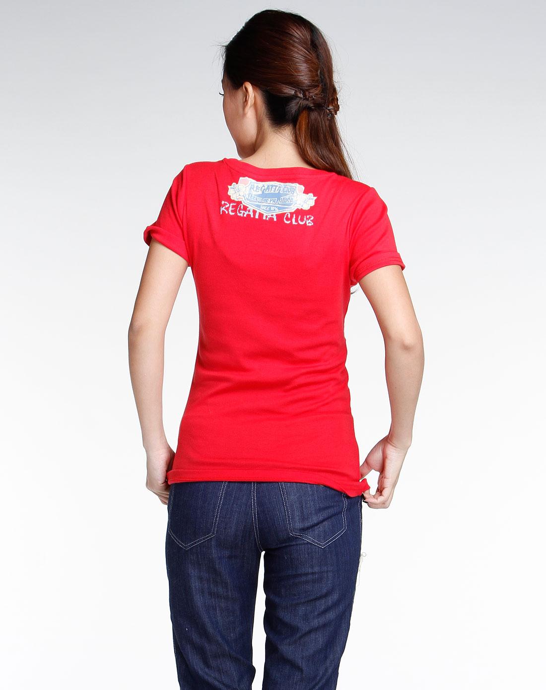 红色圆领时尚短袖t恤