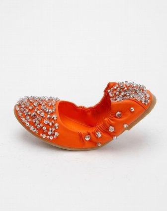 ggirl女款橙色平跟水钻舞蹈鞋681a13181016a