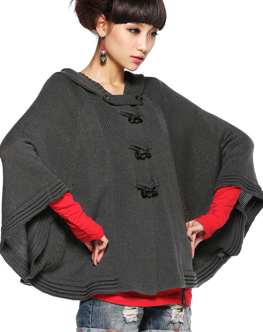 裂帛裂帛原创连帽蝙蝠袖斗篷式针织衫明珰21160009