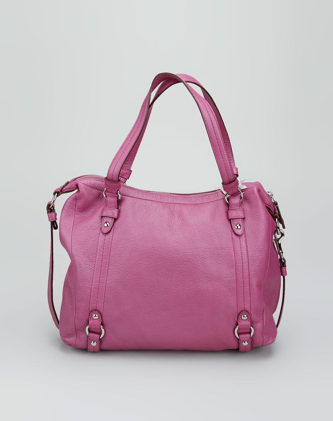 女款紫色荔枝纹时尚手挽包
