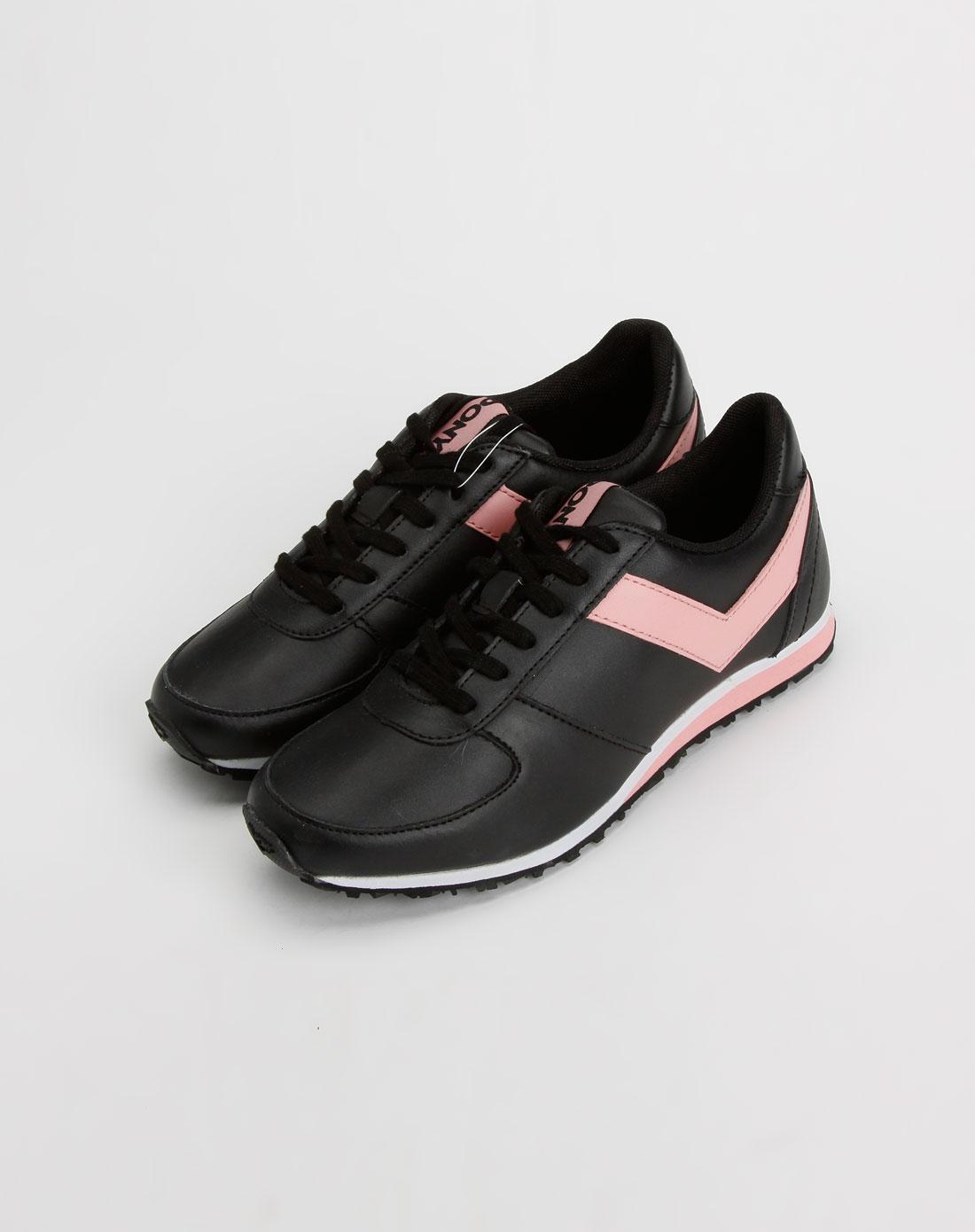 女款黑/粉色运动鞋