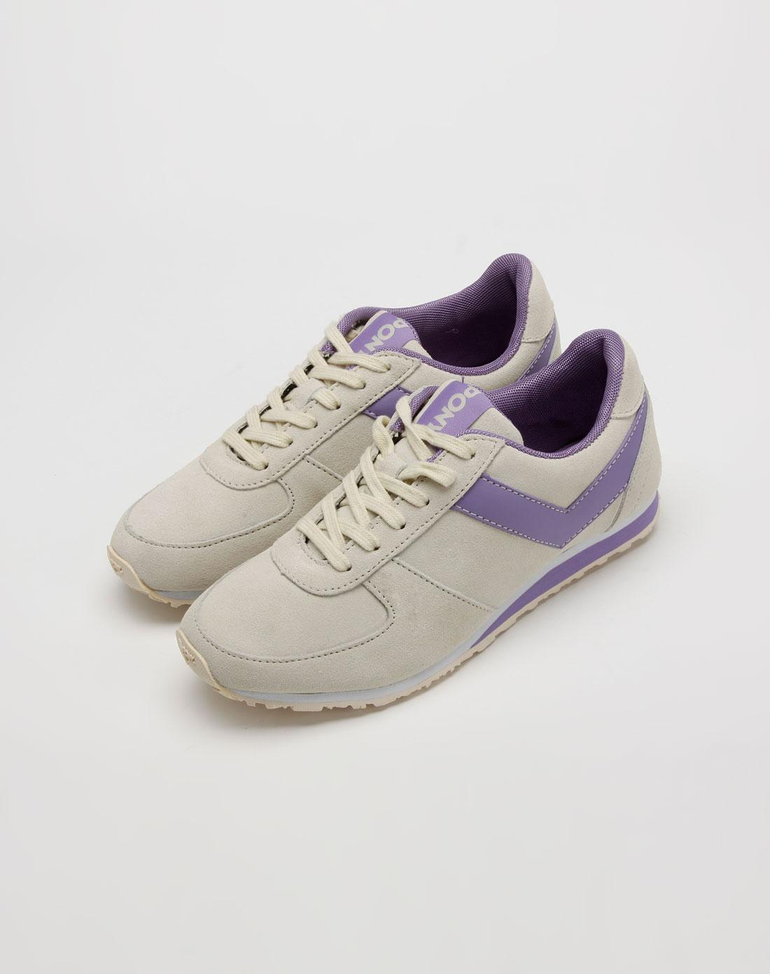 女款米灰/紫色运动鞋