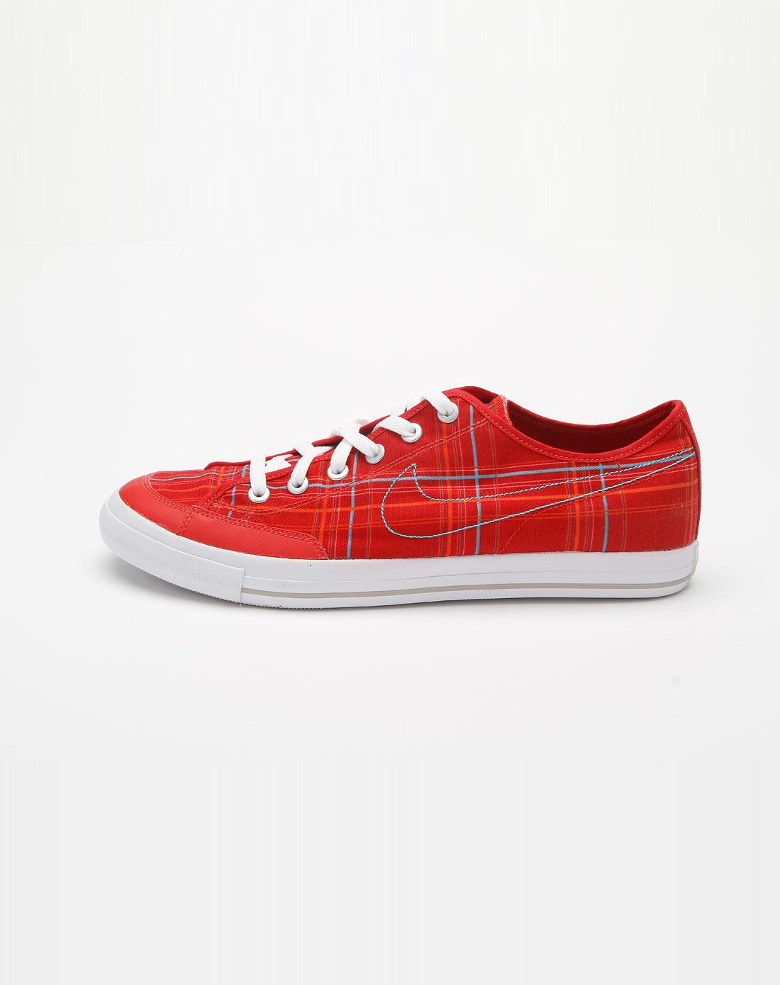 耐克nike红色格子时尚帆布鞋