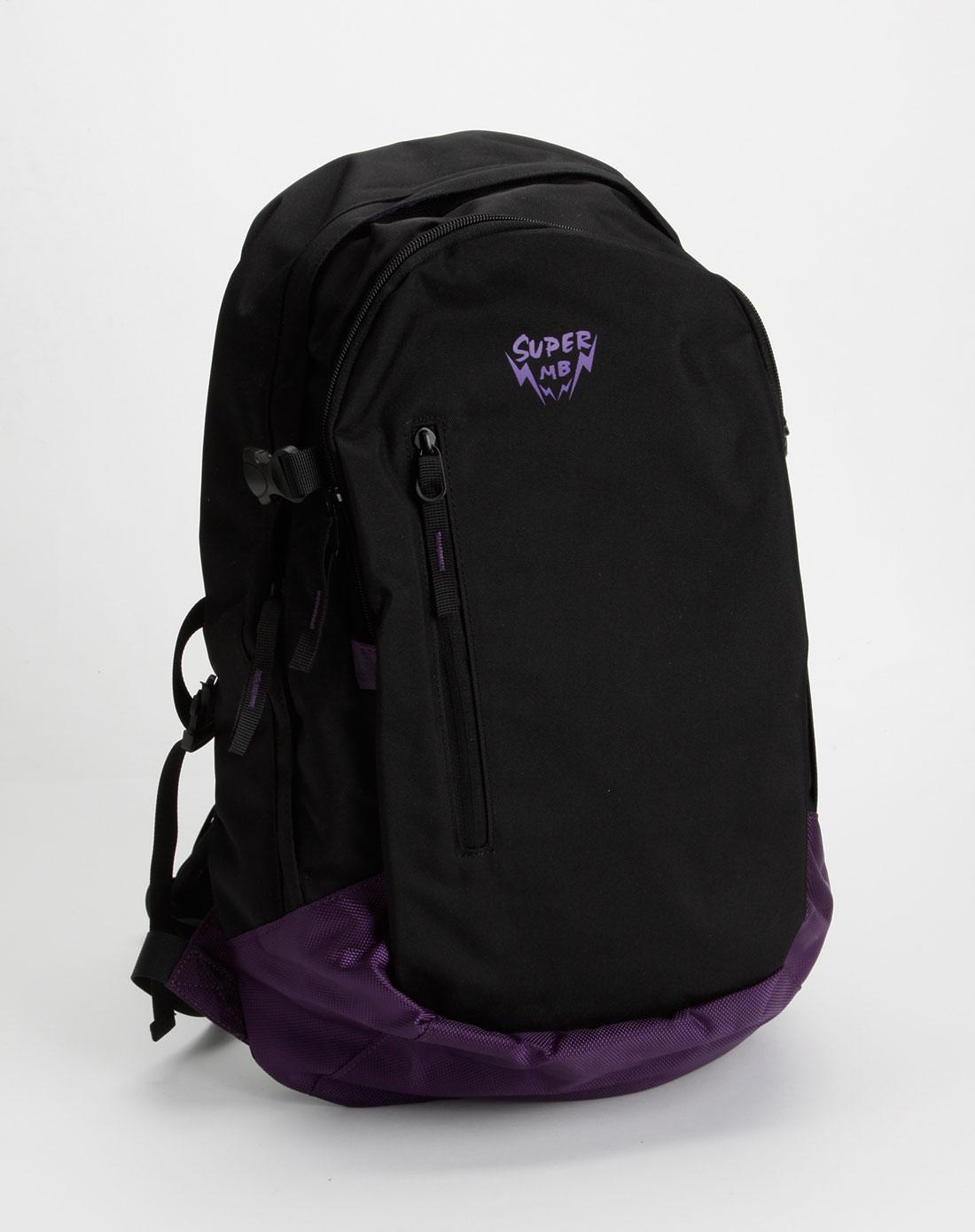 美特斯邦威女装黑/紫色时尚双肩背包图片