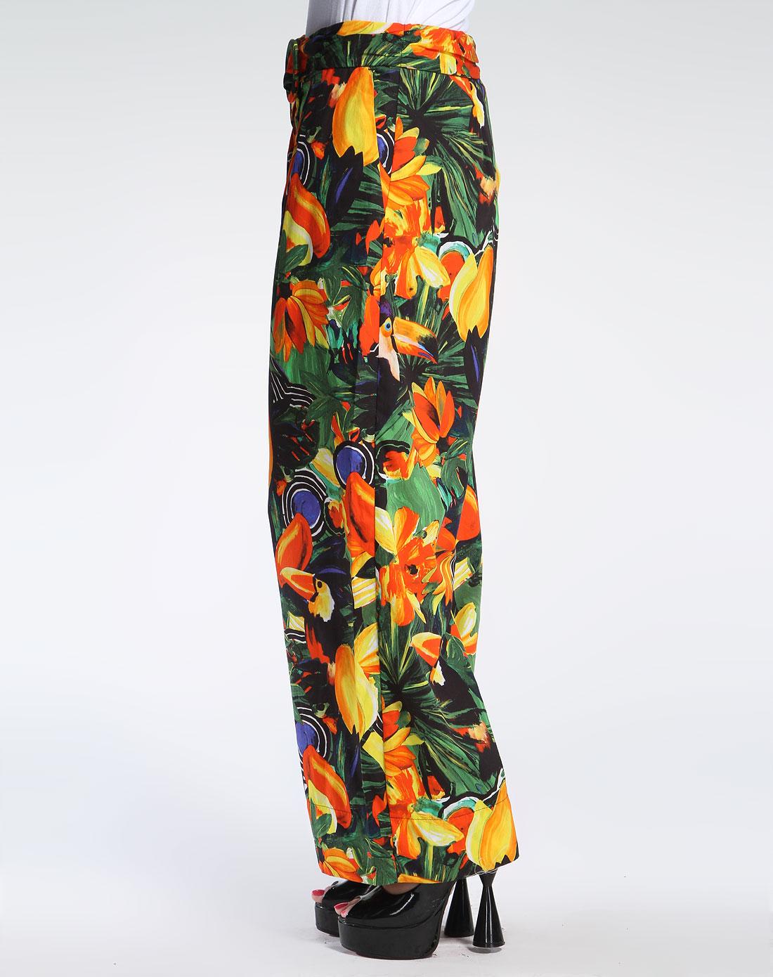 女款彩色花纹夏日风情裙裤