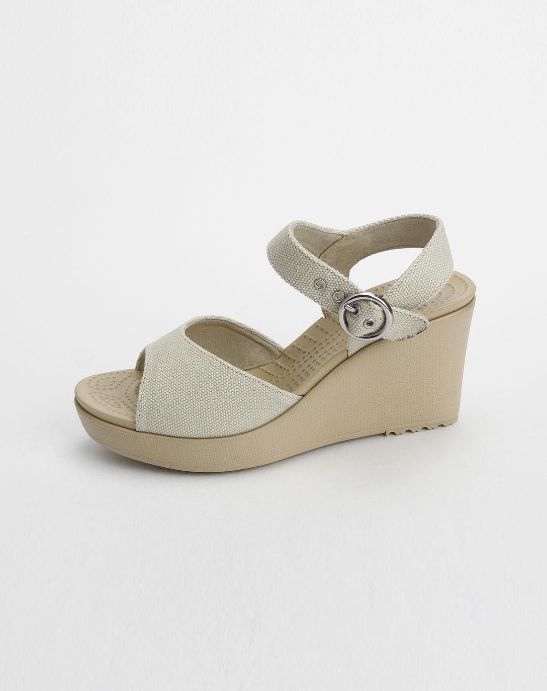 卡路驰crocs女款米色哈娜妮高跟凉鞋