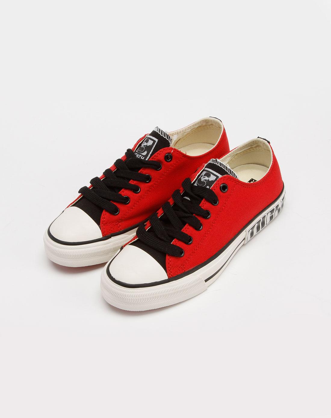 女款红/白色帆布鞋_迪士尼disney米奇官网特价3