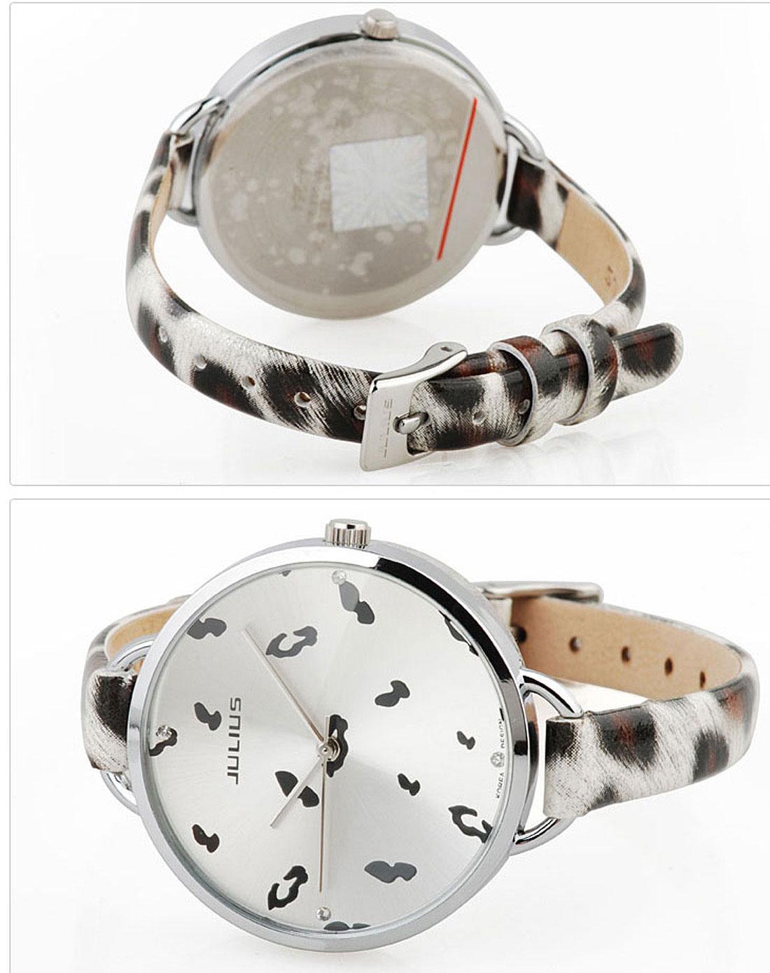 聚利时julius手表专场女款白盘豹纹白表带时尚手表