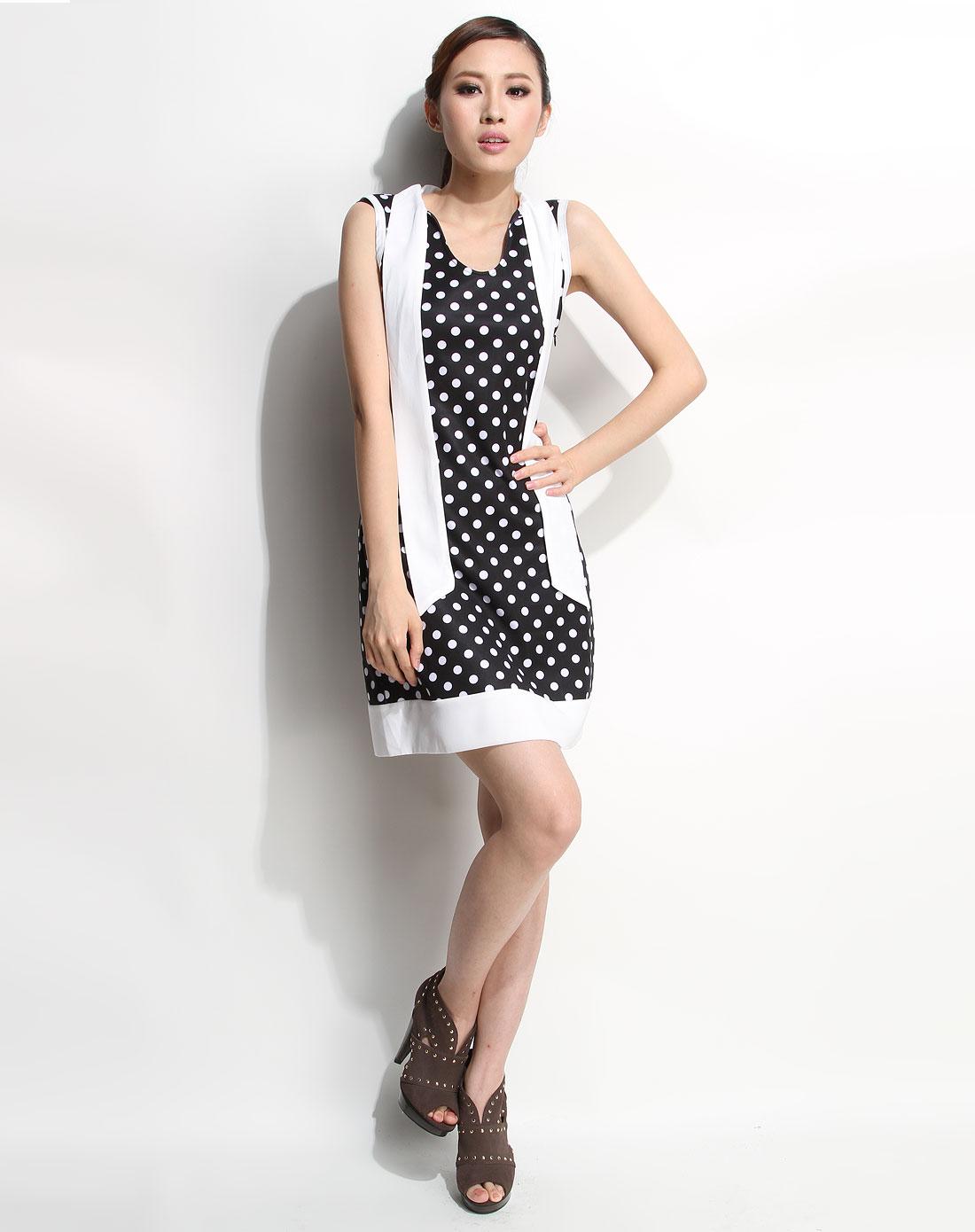 品牌混合专场-3----夜场ts 黑/白色圆点领结背心连衣裙