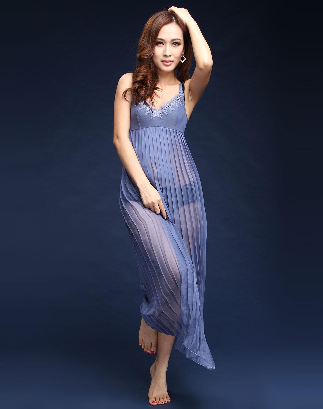 蔻夏尔corsetc内衣专场蓝色百褶吊带连衣裙