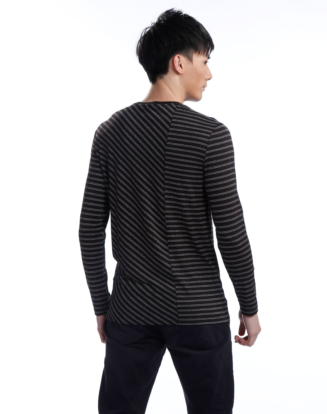 one黑/深灰色条纹长袖t恤