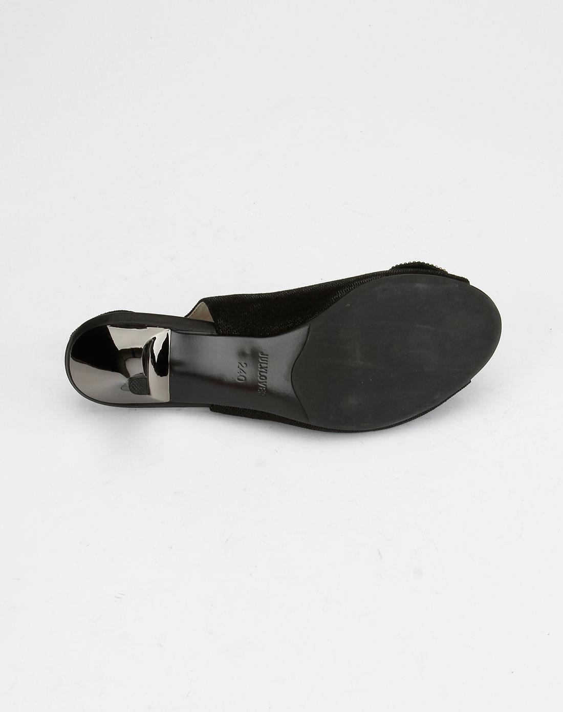 七月恋人julylover黑色水晶贴花时尚高跟凉鞋