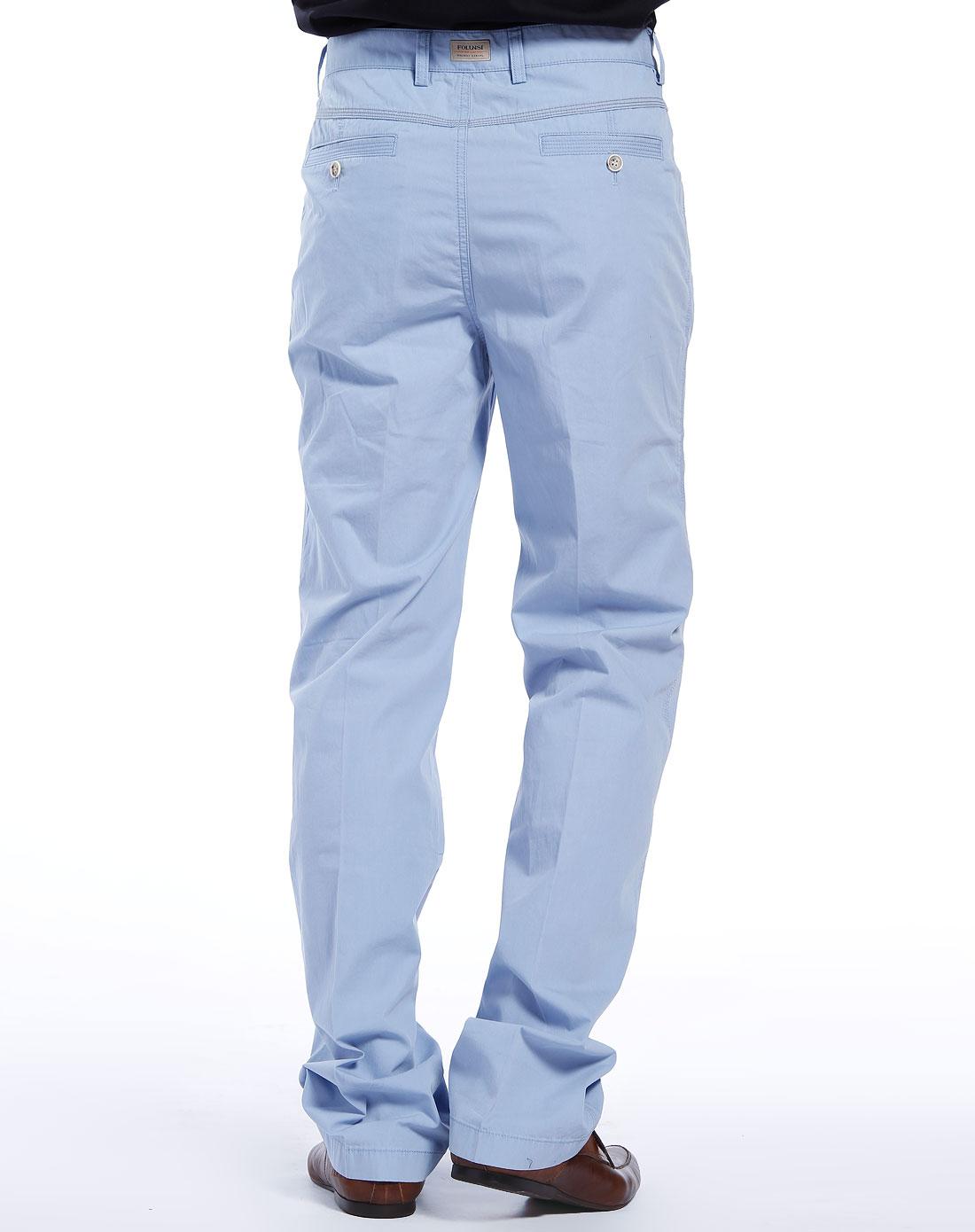 佛伦斯folunsi淡蓝色休闲长裤