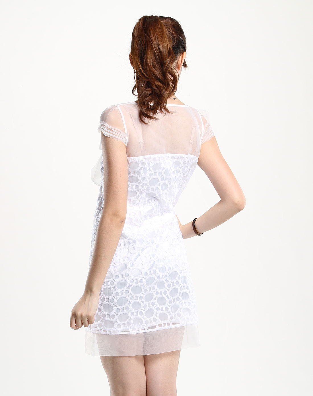贝茜bessie女装专场白色甜美蝴蝶结轻纱短袖连衣裙