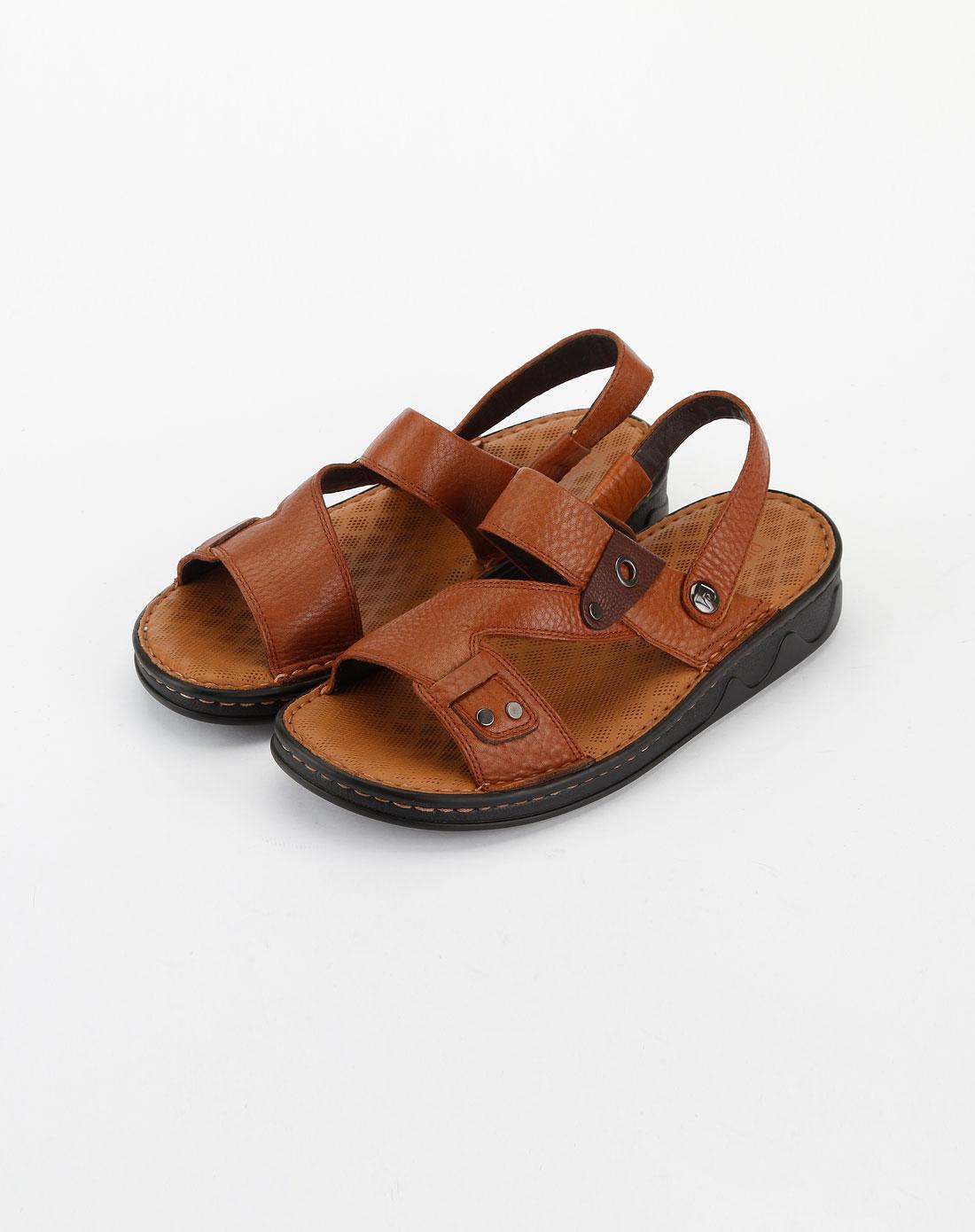 cardin-男装土黄色时尚休闲皮凉鞋