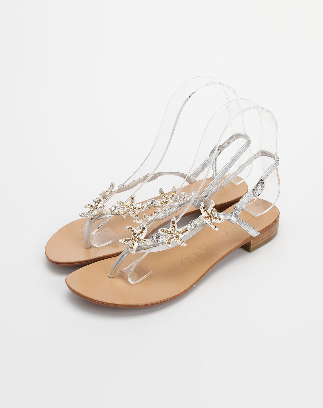 思加图staccato银色贴膜绵羊皮平底凉鞋
