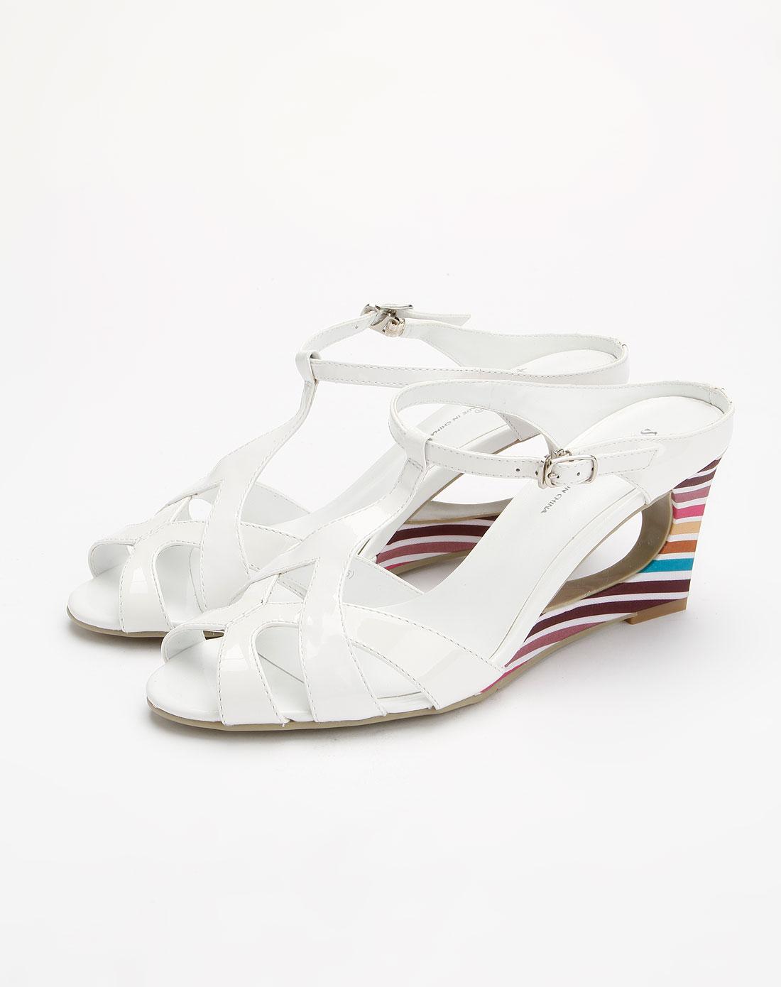 星期六st&sat女款白色时尚高跟凉鞋
