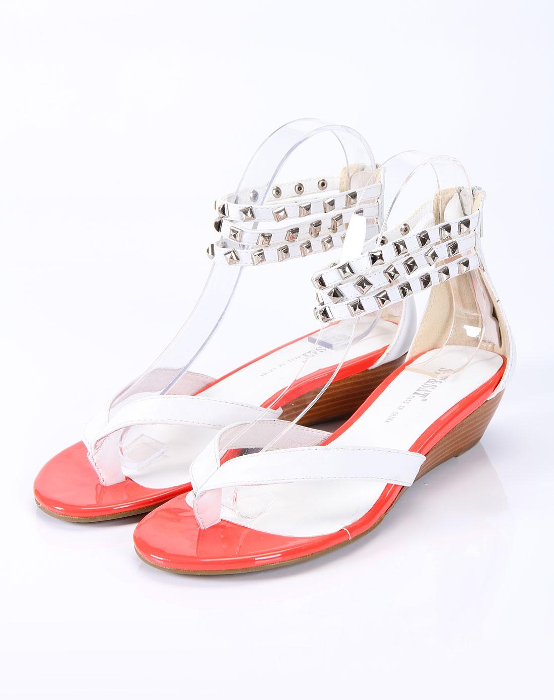 星期六st&sat女款白色牛皮凉鞋