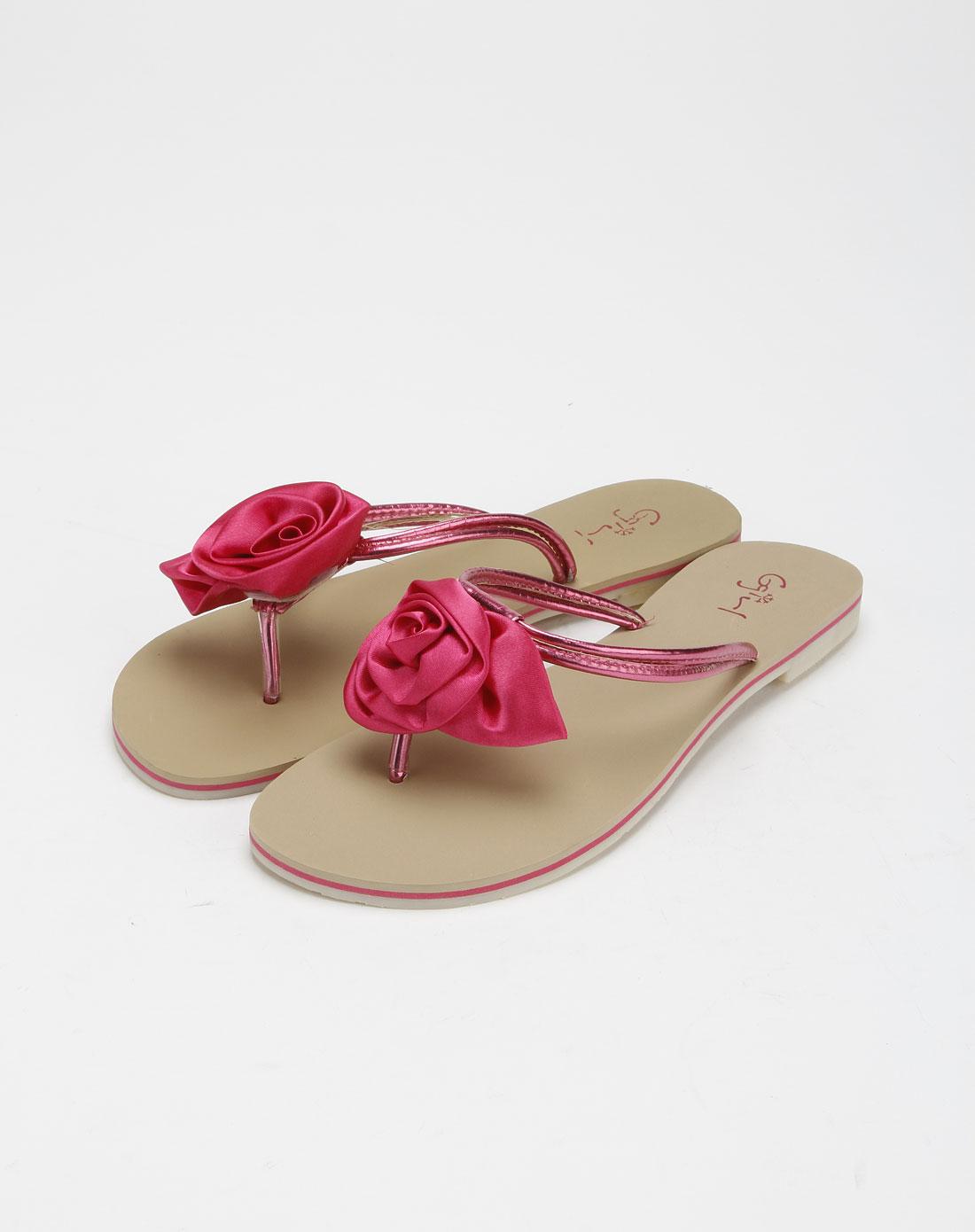 ggirl女鞋专场玫红色贴玫瑰花人字凉拖