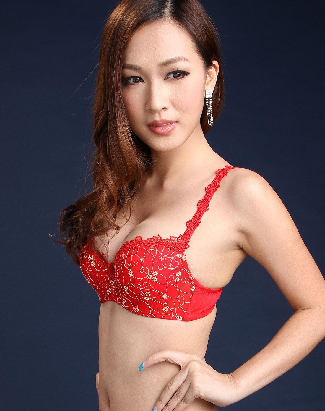 曼黛玛琏mode marie内衣专场-女款红色刺绣蕾丝文胸