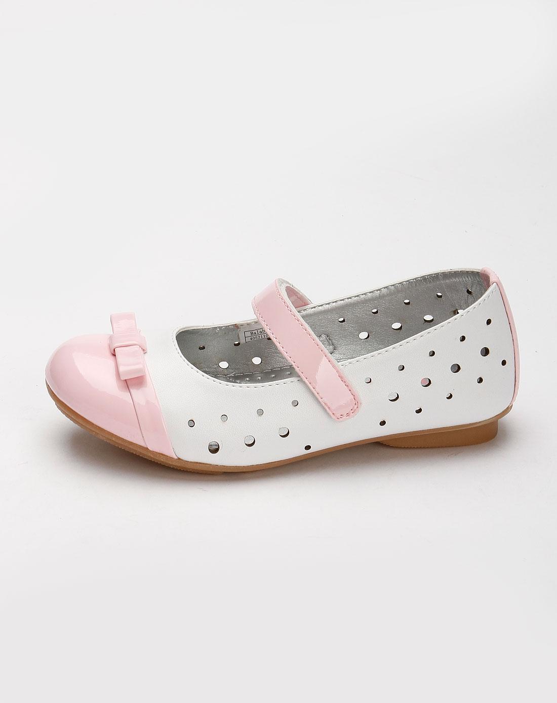巴拉巴拉balabala男女童混合专场女童粉红/白色可爱皮鞋
