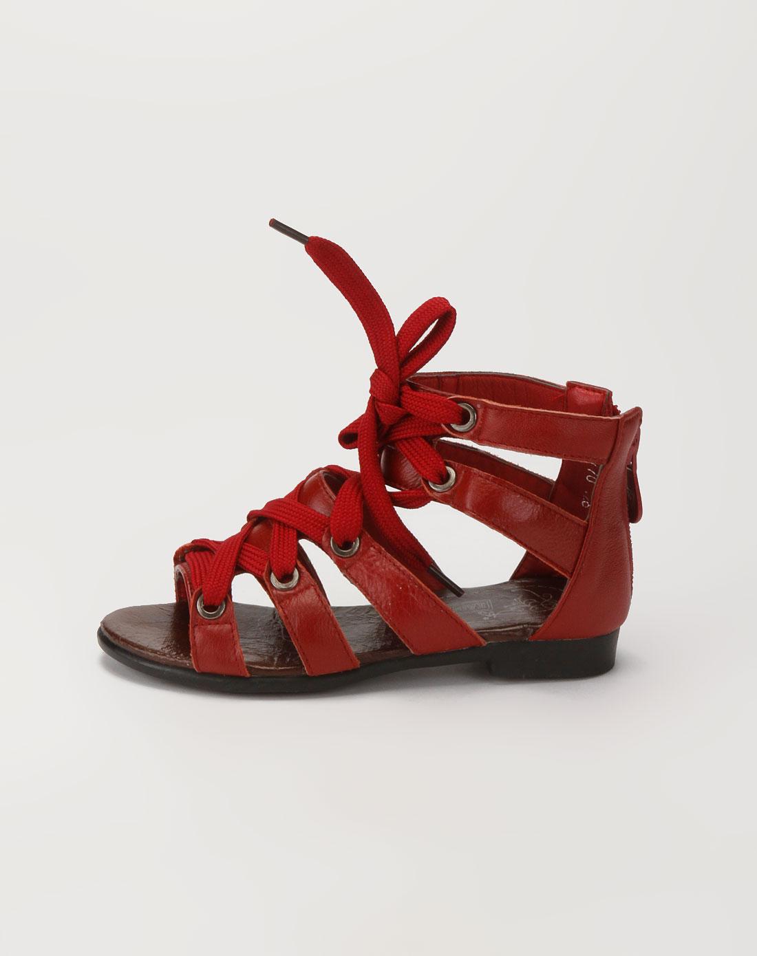 卡丁男女童鞋女童红色时尚凉鞋