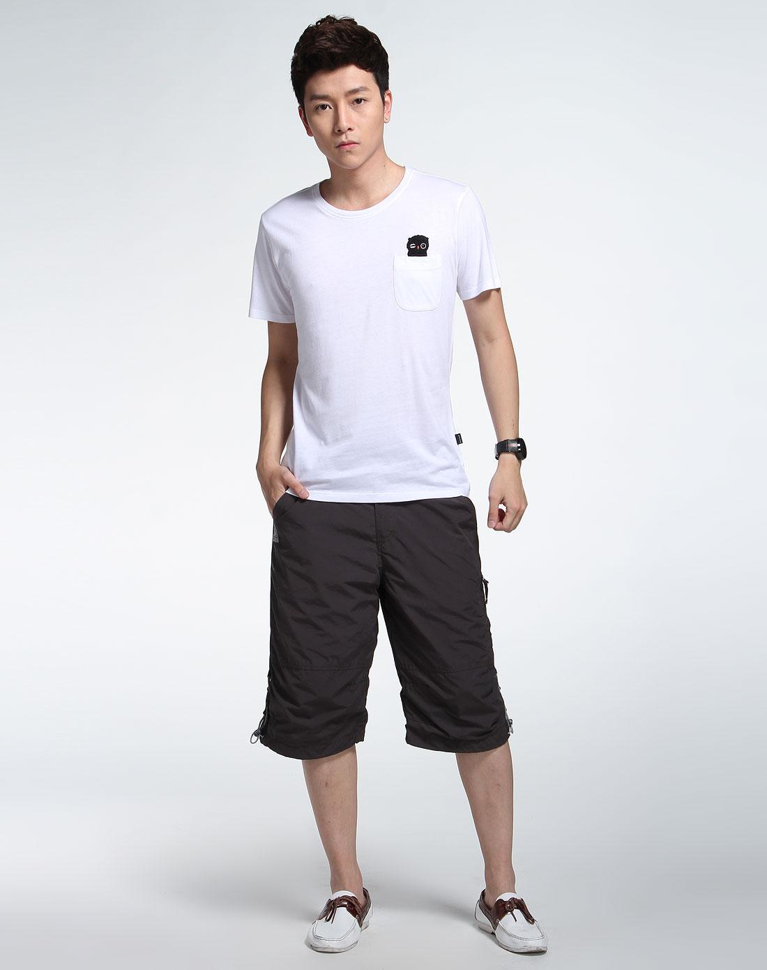 森马男装专场-白色时尚短袖t恤图片