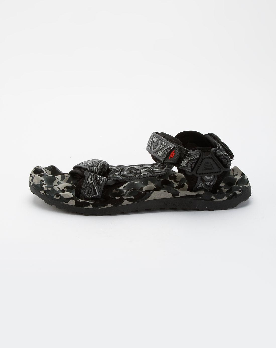 探路者toread深灰色迷彩魔术贴沙滩凉鞋