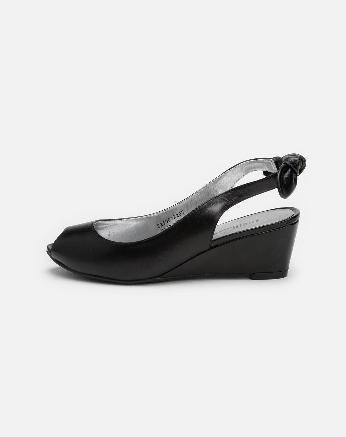菲伯丽尔fbl黑色中跟羊皮鞋