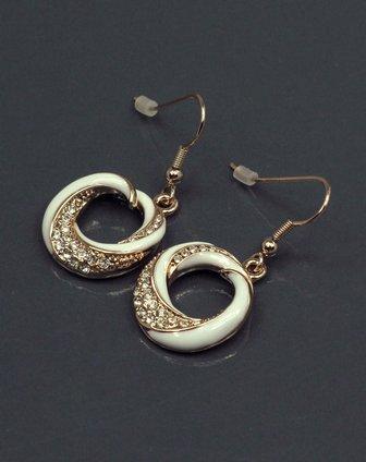 白色烤瓷水钻立体圆环耳环